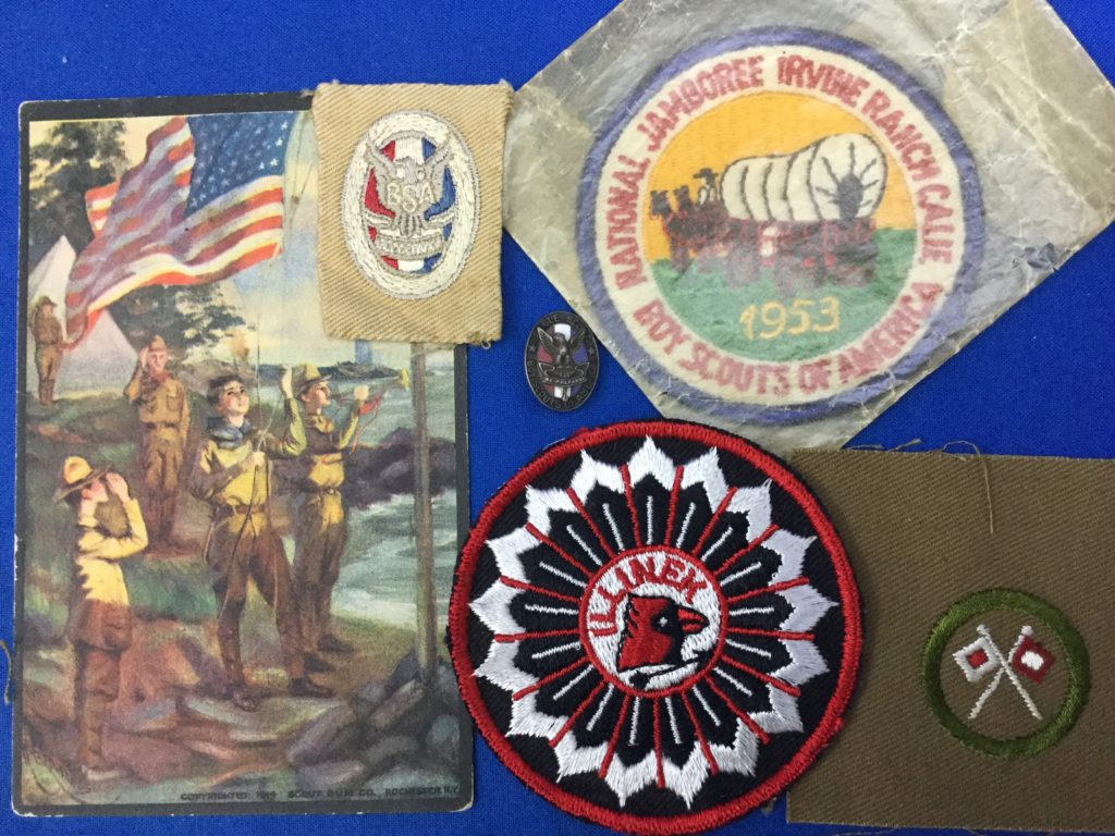 Vintage Boy Scout Patches & Card Eagle scout, Jamboree Merit Badge